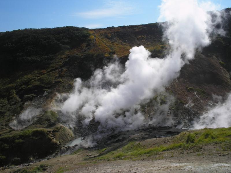 На северном склоне Мутновского вулкана, в правых истоках реки Фальшивой, у подножия сопки Скалистой, расположена группа горячих источников фумарольного типа.